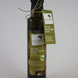 Villa Maria – Natives Bio-Olivenöl Extra mit Basilikum: 0,25 Liter-Flasche