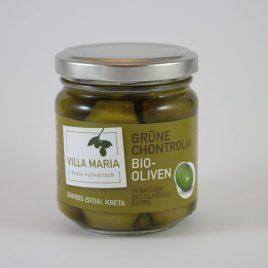 Villa Maria – Grüne Chontrolia-Bio-Oliven in Nativem Bio-Olivenöl Extra: 100 Gramm-Glas