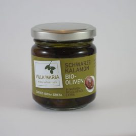 Villa Maria – Schwarze Kalamon-Bio-Oliven in Nativem Bio-Olivenöl Extra: 100 Gramm-Glas