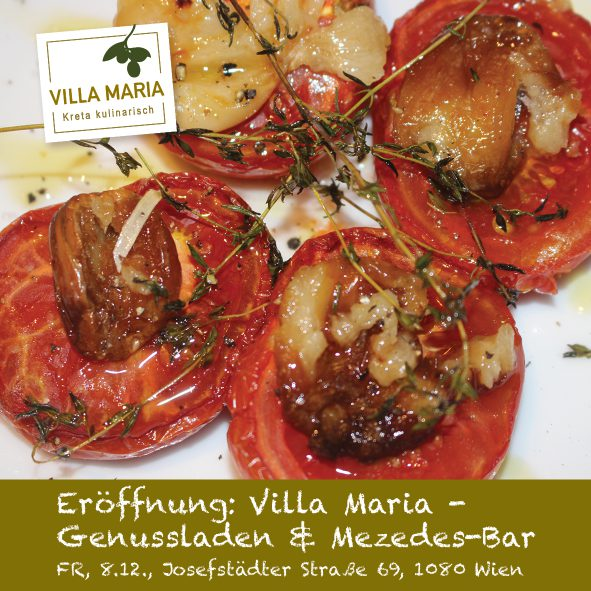 Am 8.12.2017 ist es soweit: Villa Maria | Kreta kulinarisch eröffnet in der Wiener Josefstadt!