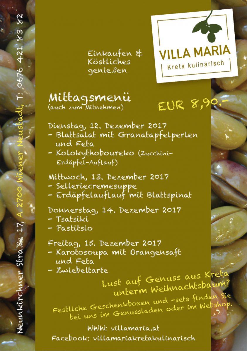 Unsere Villa Maria-Mittagsmenüs in Wiener Neustadt…