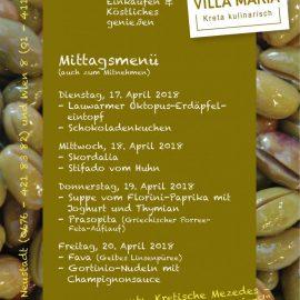 Unsere Villa Maria – Mittagsmenüs in dieser Woche…