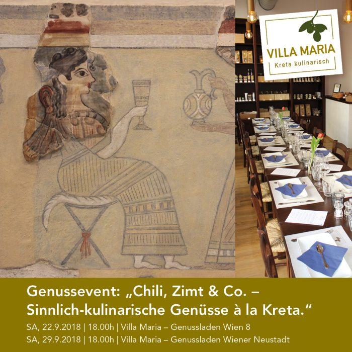 """Genussevent: """"Chili, Zimt & Co. – Sinnlich-kulinarische Genüsse à la Kreta."""" – Nur mehr wenige freie Plätze!"""