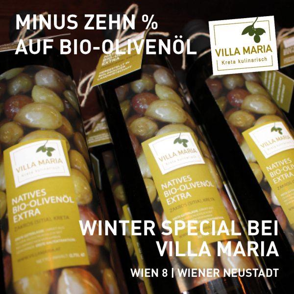 Winter special bei Villa Maria: Olivenöl und Käse aus Kreta