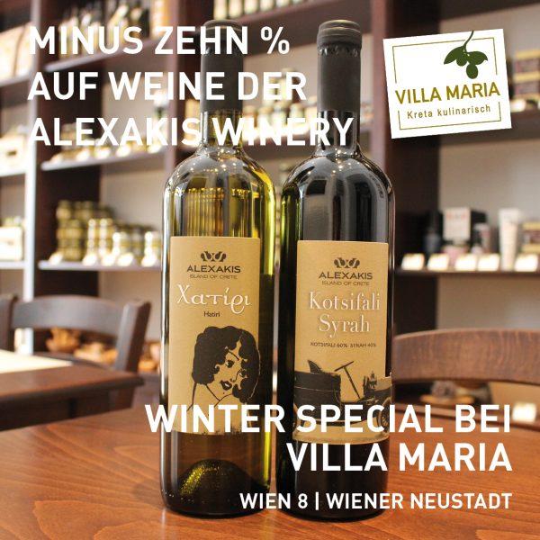 Winter special bei Villa Maria: Rot- & Weißweine der Alexakis Winery, Kreta