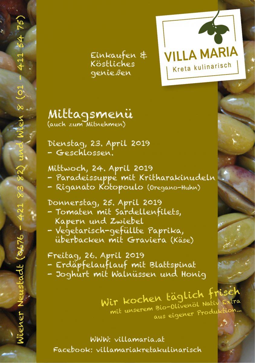 Bei Villa Maria in Wien 8 auf der Mittagsmenükarte…