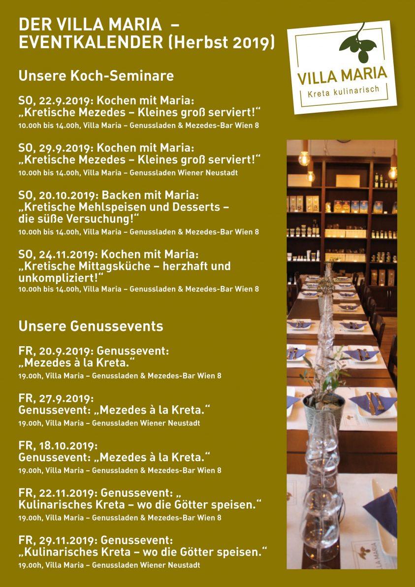 Der Villa Maria   Kreta kulinarisch – Eventkalender für den kommenden Herbst…