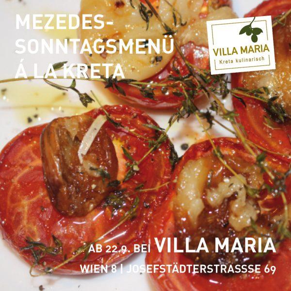 Ab kommender Woche ist Ihr Villa Maria – Genussladen & Mezedes-Bar in Wien 8 auch am Sonntag geöffnet!