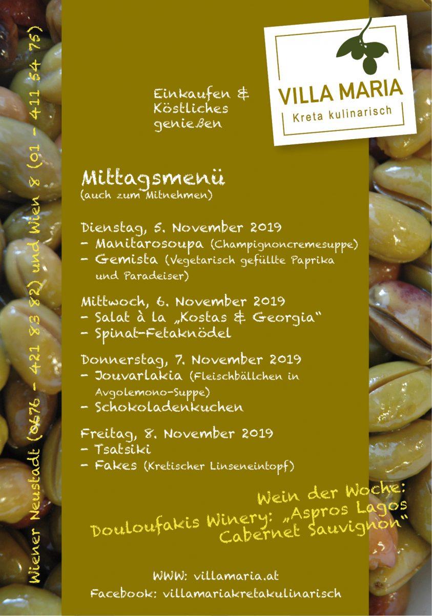 In der ersten Novemberwoche bei Villa Maria am Mittagstisch…
