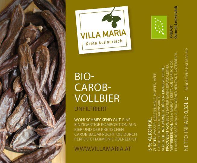 Ganz neu – und nur für kurze Zeit: Villa Maria – Bio-Carob-Vollbier!