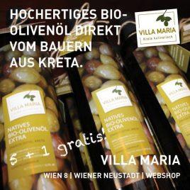 Aktion 5 + 1 gratis! Hochwertiges Villa Maria – Natives Bio-Olivenöl Extra direkt vom Bauern aus Kreta.