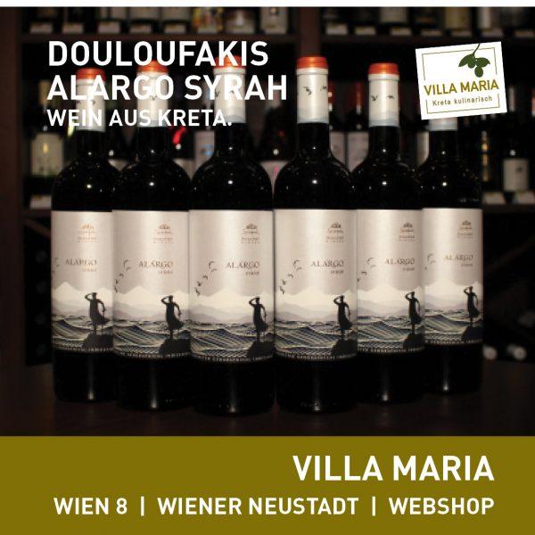 Villa Maria – Wein der Woche: Douloufakis Winery – Alargo (Syrah), Kreta.