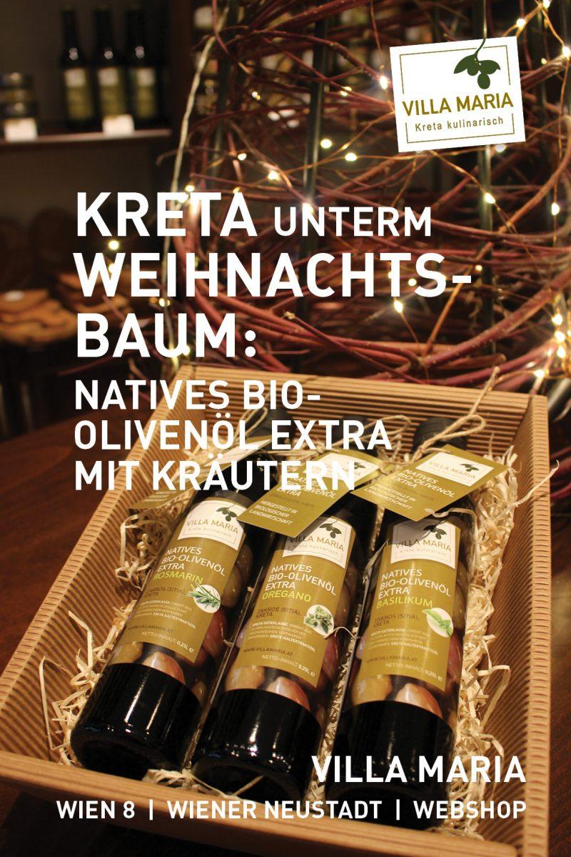 Kreta unterm Weihnachtsbaum: Villa Maria – Natives Bio-Olivenöl Extra mit Kräutern…