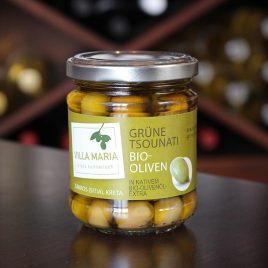 Villa Maria – Grüne Tsounati-Bio-Oliven in Nativem Bio-Olivenöl Extra: 110 Gramm-Glas
