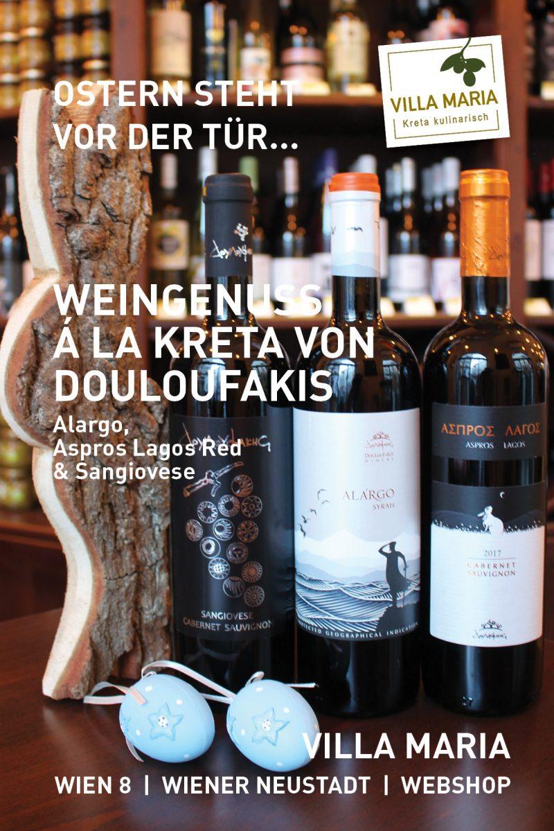 Ostern steht vor der Tür…  Weingenuss á la Kreta von Douloufakis: Alargo, Aspros Lagos Red & Sangiovese