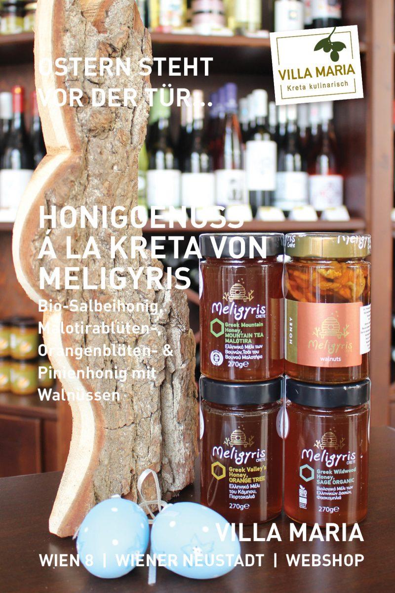 Ostern steht vor der Tür…  Honiggenuss á la Kreta von Meligyris: Bio-Salbeihonig, Malotirablüten-, Orangenblüten- & Pinienhonig mit Walnüssen