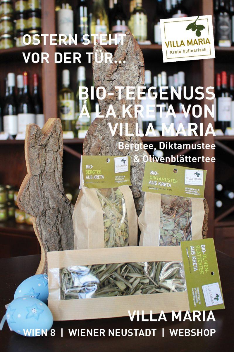 Ostern steht vor der Tür…  Bio-Teegenuss á la Kreta von Villa Maria: Bergtee, Diktamustee & Olivenblättertee