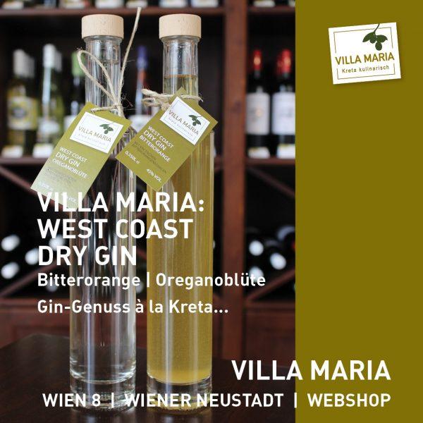 NEU bei Villa Maria: West Coast Dry Gin – Bitterorange | Oreganoblüte: Gin-Genuss à la Kreta…
