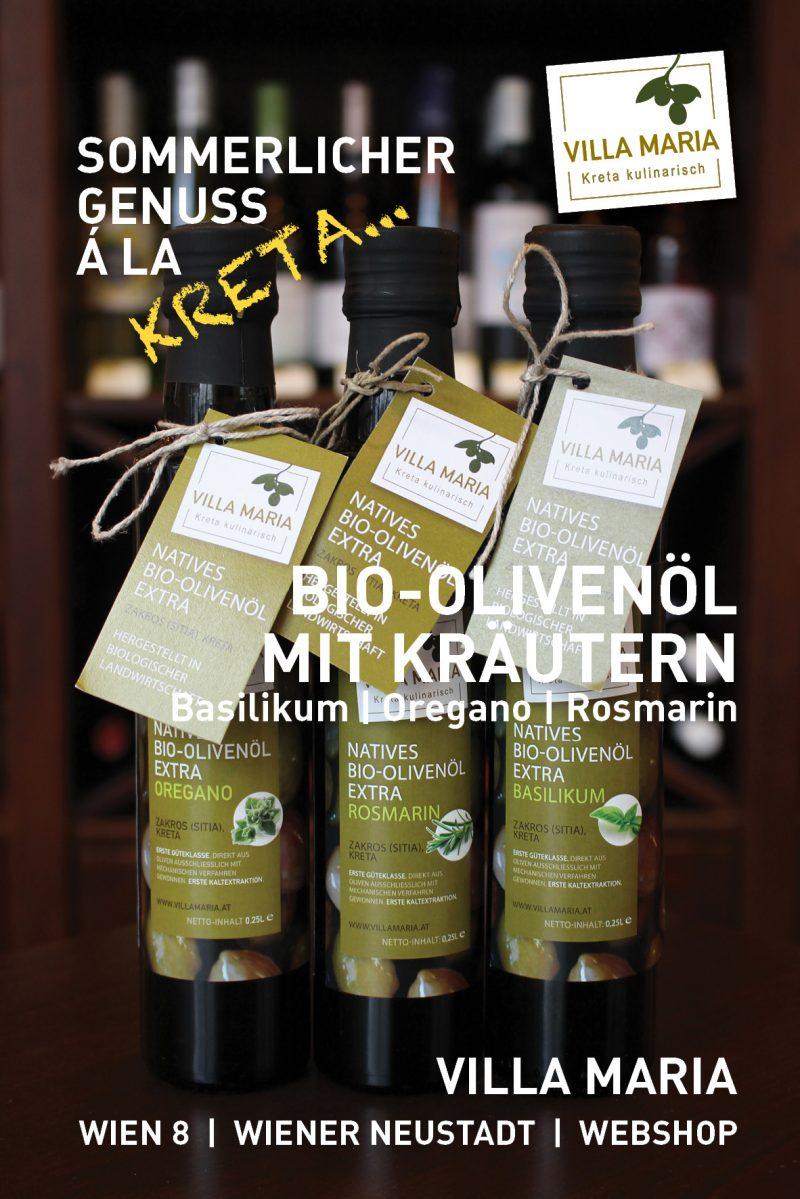 Sommerlicher Genuss á la Kreta: Villa Maria – Bio-Olivenöl mit Kräutern: Basilikum | Oregano | Rosmarin