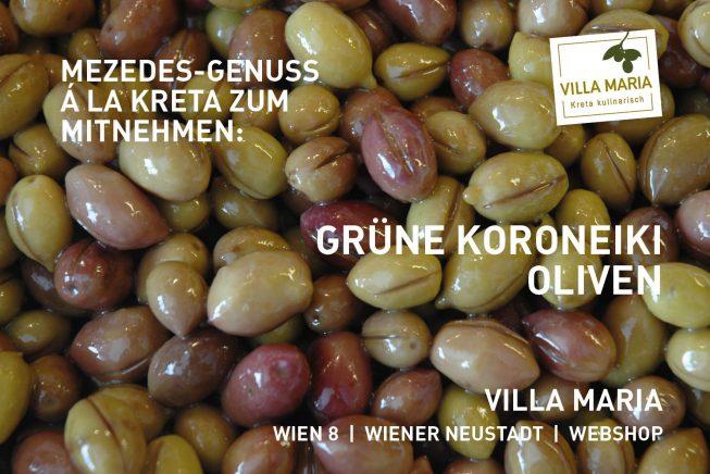 Mezedes-Genuss á la Kreta zum Mitnehmen: Grüne Koroneiki-Oliven